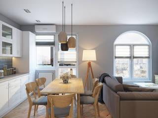 Проект 037: квартира-студия: Кухни в . Автор – студия визуализации и дизайна интерьера '3dm2', Скандинавский