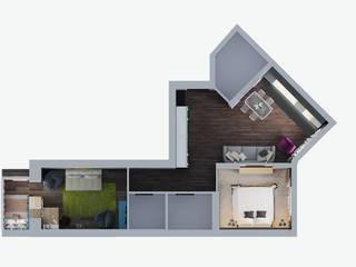 Визуализации проекта квартиры для Марины Стены и пол в стиле минимализм от Alyona Musina Минимализм