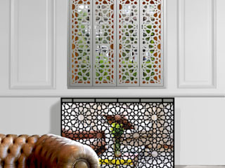 Islamic and Moroccan art inspired modern mirrored console table and radiator cover:   by Lace Furniture