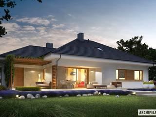 Projekt DOMU FLO III G1 – nowoczesny i energooszczędny dom z poddaszem do adaptacji Nowoczesne domy od Pracownia Projektowa ARCHIPELAG Nowoczesny