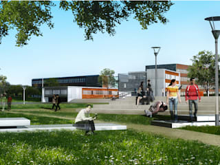 Perspective du concours depuis le parvis paysager commun aux lycées:  de style  par STUDIO D'ARCHITECTURE RANSON-BERNIER