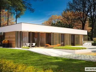 PROJEKT DOMU EX 7 (z wiatą)  : styl , w kategorii Domy zaprojektowany przez Pracownia Projektowa ARCHIPELAG,Nowoczesny