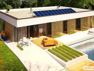PROJEKT DOMU EX 7 (z wiatą)  : styl , w kategorii Domy zaprojektowany przez Pracownia Projektowa ARCHIPELAG