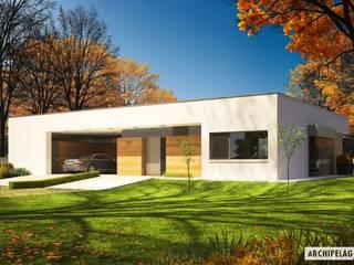 PROJEKT DOMU EX 7 (z wiatą) Nowoczesne domy od Pracownia Projektowa ARCHIPELAG Nowoczesny