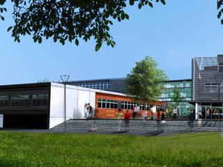Perspective du concours vers l'accès à la cour de l'établissement:  de style  par STUDIO D'ARCHITECTURE RANSON-BERNIER