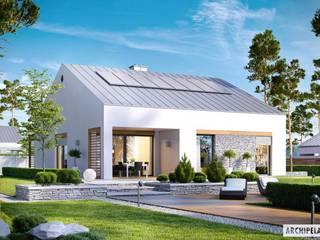 PROJEKT DOMU Ralf G1 – nowoczesny i energooszczędny dom do 100 m²: styl , w kategorii Domy zaprojektowany przez Pracownia Projektowa ARCHIPELAG,Nowoczesny
