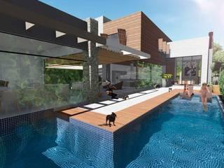 CASA A VITRINE: Piscinas  por DK arquitetos,