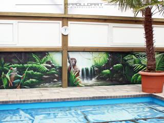 Spas de estilo tropical de Wandgestaltung Graffiti Airbrush von Appolloart Tropical