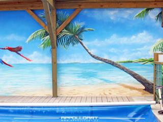 Piscinas de estilo tropical de Wandgestaltung Graffiti Airbrush von Appolloart Tropical