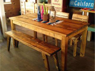 古材風ダイニングテーブルセット: umikaguが手掛けた工業用です。,インダストリアル