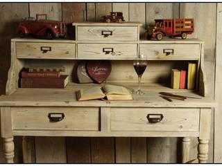 230 Duże BIURKO z szufladami SEKRETARZYK Vintage LITE DREWNO od Natural Art Deco Wioletta Plichta Klasyczny