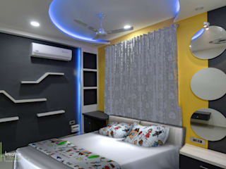 A SIMPLE AND ELEGANT TRIPLEX VILLA KREATIVE HOUSE Modern style bedroom Plywood Grey