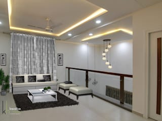 A SIMPLE AND ELEGANT TRIPLEX VILLA KREATIVE HOUSE Modern living room Solid Wood Grey