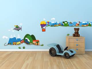 Kit déco - Train chambre d'enfant: Chambre d'enfants de style  par Wall Sweet Home - Plage SA