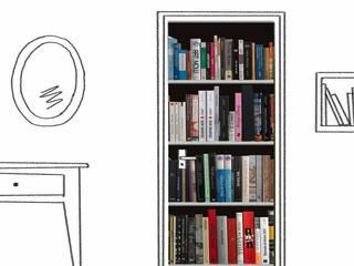 Trompe-l'oeil de porte - Bibliothèque: Bureau de style  par Wall Sweet Home - Plage SA