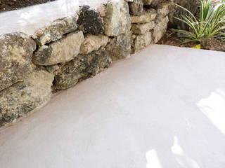 Rivestimenti per piscine in cemento armato Pavimento Moderno Giardino con piscina Cemento Beige