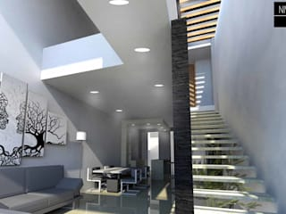 NIVEL SUPERIOR taller de arquitectura Modern corridor, hallway & stairs