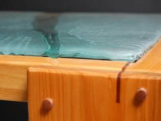 Mesa Alta ''Café en Rio Claro'' Indigo Glass Art ArtePiezas de arte Vidrio Acabado en madera