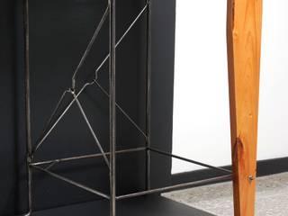 Mesa Alta ''Café en Rio Claro'' Indigo Glass Art Salas/RecibidoresMesas de centro y auxiliares Metal Acabado en madera