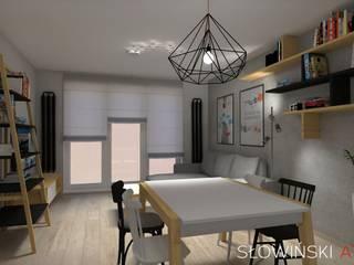 Salon z otwartą kuchnią na osiedlu LIPOWA OSTOJA od Atelier Słowiński