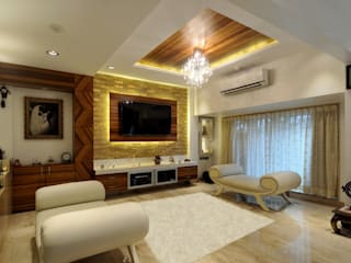 Private Residence at Mumbai:  Living room by ARK Reza Kabul Architects Pvt. Ltd.