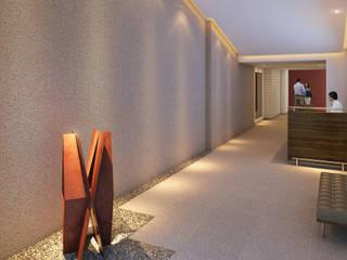 Tato Bittencourt Arquitetos Associados ห้องโถงทางเดินและบันไดสมัยใหม่