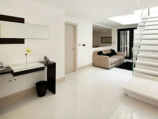 Primrose Hill - modern luxury kitchen featuring Porcel-Thin polished white 120x60cm porcelain tiles:  Corridor & hallway by Porcel-Thin
