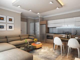 MİNERVA MİMARLIK – Salon ve açık mutfak:  tarz