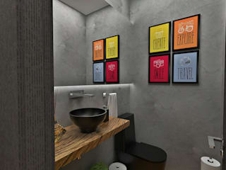 Lavabo: Banheiros  por Atelier Par Deux,Eclético Madeira Efeito de madeira