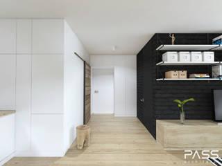 PASS architekci Industrial style corridor, hallway and stairs