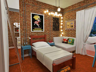 Atelier Par Deux Industrial style bedroom Bricks Multicolored