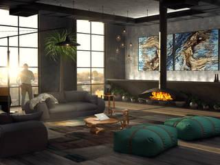 Salones de estilo industrial de Tiago Martins - 3D Industrial
