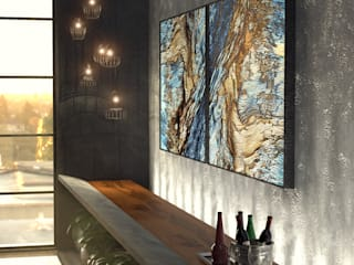 Loft Salas de estar industriais por Tiago Martins - 3D Industrial