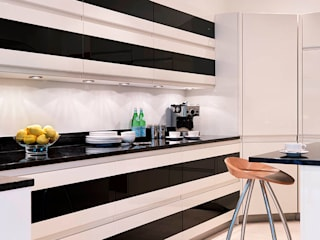 Cream and Black Glass Units - Black Granite : modern  by Kitchen Co-Ordnation, Modern
