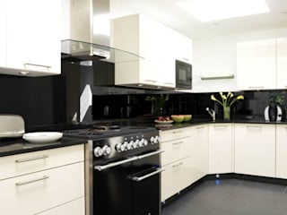 Cream high gloss with black glass - black granite:   by Kitchen Co-Ordnation
