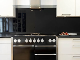 cream high gloss with black granite - black glass:   by Kitchen Co-Ordnation