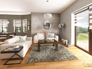 Salon klasyczny z kuchnią / CLASSIC LIVING ROOM with KITCHEN Klasyczny salon od D2 Studio Klasyczny