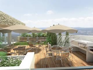 Edificio Multifamiiliar San Juan de Colon Balcones y terrazas de estilo minimalista de Arq.AngelMedina+ Minimalista
