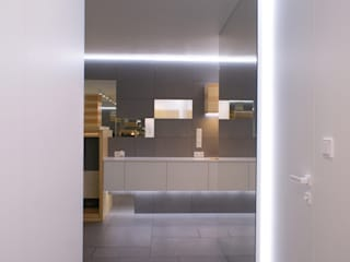 t design Modern Corridor, Hallway and Staircase Concrete Grey