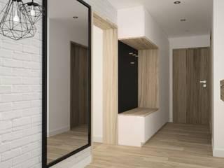 OES architekci Modern corridor, hallway & stairs Wood White