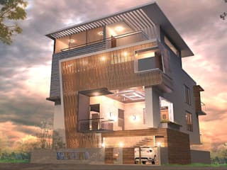 RESIDENCE Modern houses by TECHNO ARCHITECTURE .INC Modern
