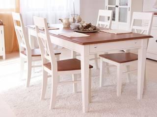 Essgruppe Gotland 180cm Esstisch  4 Stühlen +1 Sitzbank weiß Pinie massiv Holz Essgarnitur:   von Moebelkultura.DE
