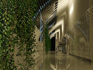 HCG -SERVICE BRIDGE Industrial style corridor, hallway and stairs by TECHNO ARCHITECTURE .INC Industrial