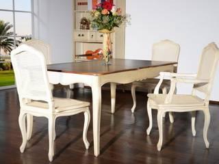 Essgruppe 168cm + 4 Stühle Vintage Birke massiv Holz Ess Tisch Antik Optik:   von Moebelkultura.DE