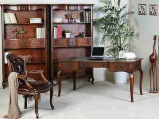 Schreibtisch inkl Holzstuhl Vintage braun Birke massiv Holz Büro tisch Stuhl:   von Moebelkultura.DE