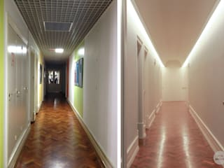 現代風玄關、走廊與階梯 根據 Matos + Guimarães Arquitectos 現代風