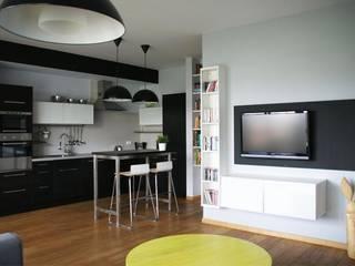 nowoczesne biało-czarne Nowoczesny salon od Nolk Plan Nowoczesny