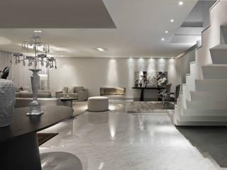 salas em branco e cinza Salas de estar modernas por Escritório de Design Edwiges Cavalieri Moderno