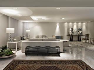 salas em branco e cinza Corredores, halls e escadas modernos por Escritório de Design Edwiges Cavalieri Moderno
