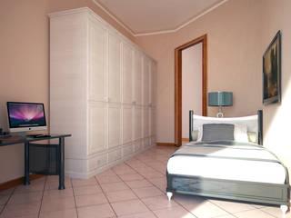 RENDERING 3D - DISPOSIZIONE ARREDO IN AMBIENTI ESISTENTI Camera da letto in stile classico di 2P COSTRUZIONI srl Classico